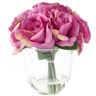 Rose Floral Arrangement in Glass Vase - AllModern