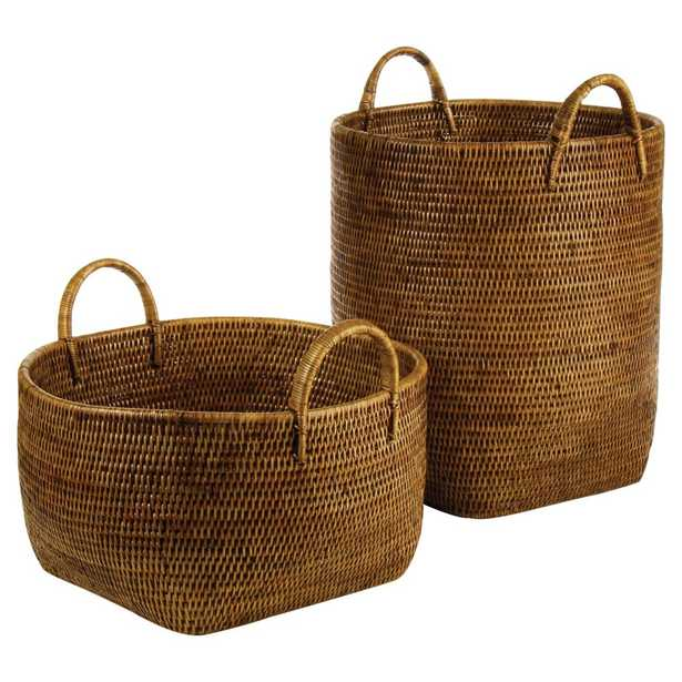 Paul French Country Rattan Storage Floor Baskets - Set of 2 - Kathy Kuo Home