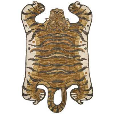 Feroz Hand-Hooked Wool Gold Area Rug - Wayfair