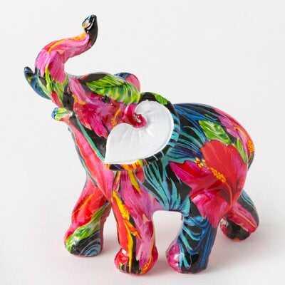 Longwell Tropical Floral Elephant Figurine - Wayfair