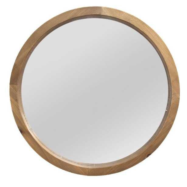 "HomeRoots ""Grained Circle Mirror""Wall Art, Light Natural Wood - Home Depot"