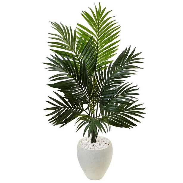 Indoor Kentia Palm Artificial Tree in White Oval Planter - Home Depot