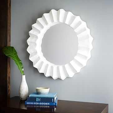Papier Mache Round Mirror, White - West Elm
