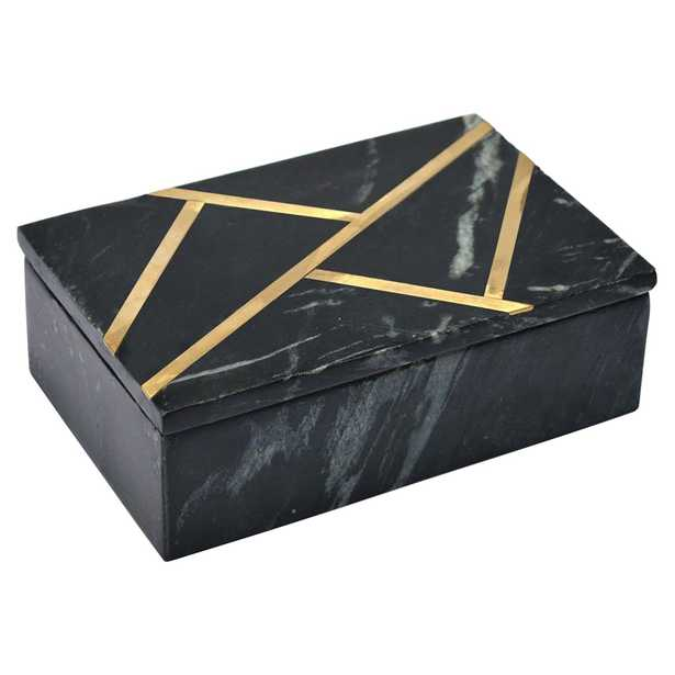 Tannon Modern Classic Black Marble Brass Inlay Decorative Box - Kathy Kuo Home