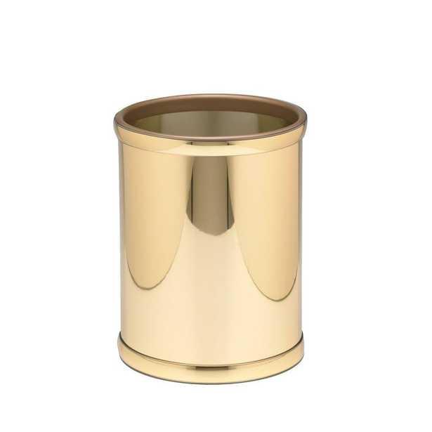 Mylar 8 Qt. Polished Brass Round Waste Basket, Gold Metallic - Home Depot