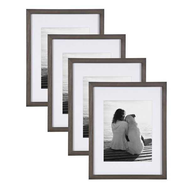 DesignOvation Gallery 11x14 matted to 8x10 Gray Picture Frame Set of 4 - Home Depot