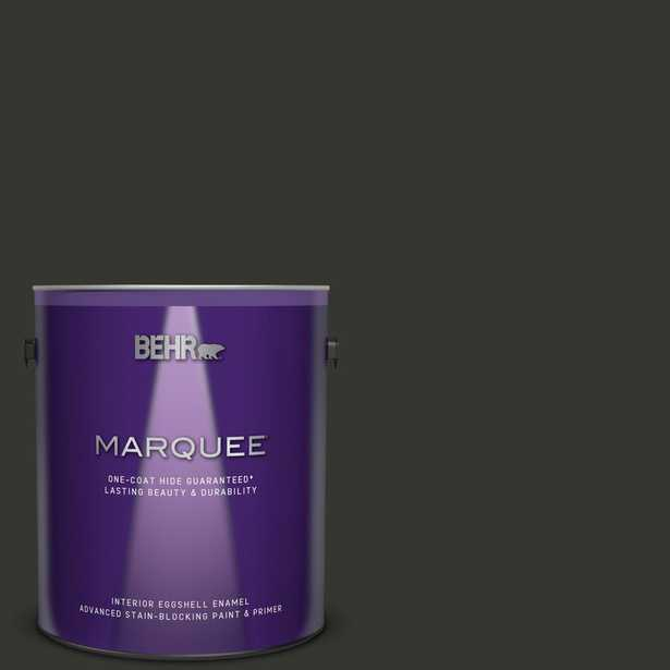 BEHR MARQUEE 1 gal. #ppf-59 Raven Black Eggshell Enamel Interior Paint and Primer in One - Home Depot