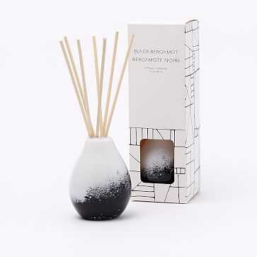 Black + White Speckled Glass Candle, Diffuser - West Elm