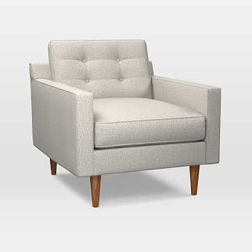 Drake Midcentury Chair, Twill, Stone, Pecan - West Elm