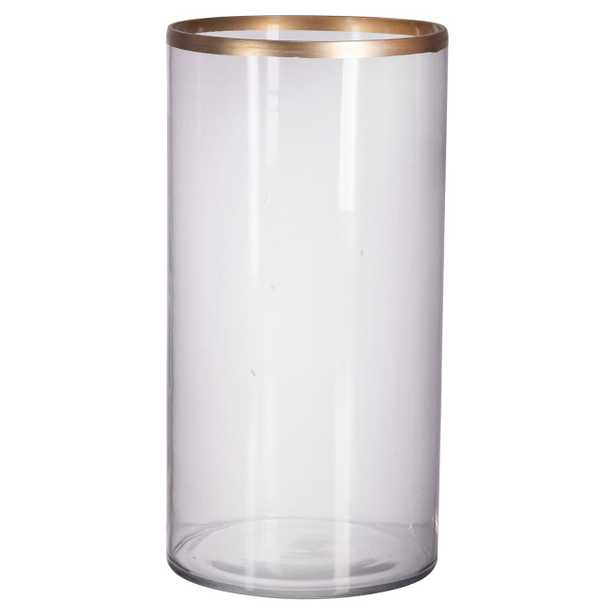 Angelica Modern Classic Glass Gold Rim Vase - Small - Kathy Kuo Home