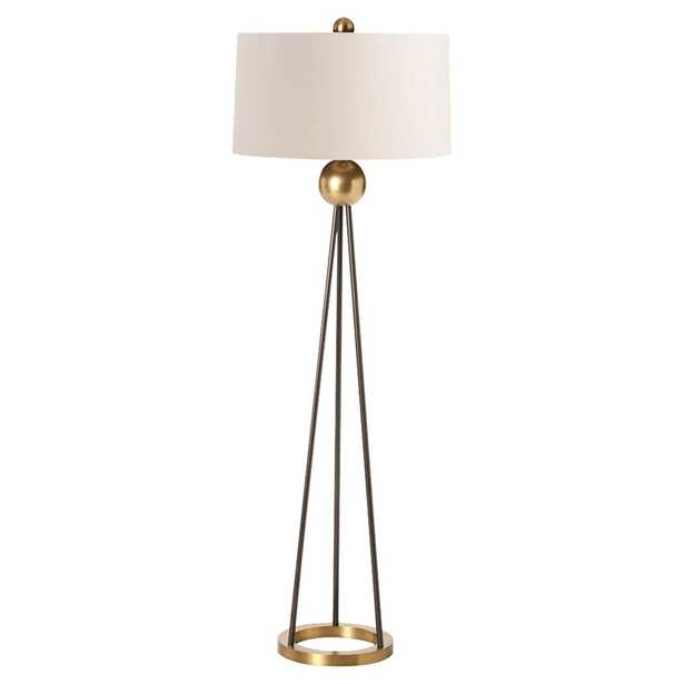 Tracie Modern Classic Antique Brass Ball Iron Floor Lamp - Kathy Kuo Home