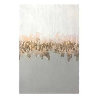"Coastal Reflection Canvas Art, gold foil/blush/white, 30""x45"" - Pottery Barn Teen"