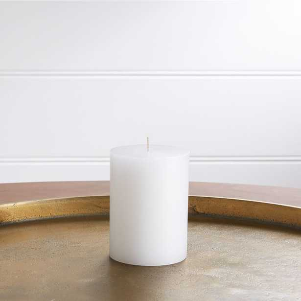 """3""""x4"""" White Pillar Candle - Crate and Barrel"""