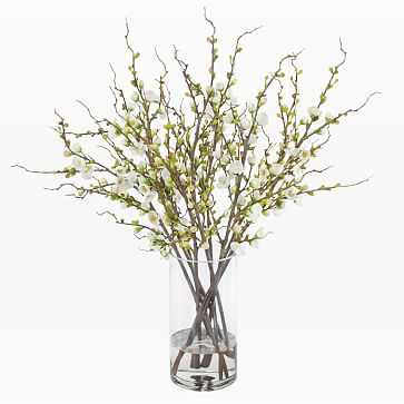 Faux Peach Blossoms in Tall Vase - West Elm