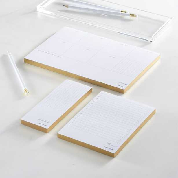 Russel + Hazel In Due Time Gold Notepad Set - Crate and Barrel