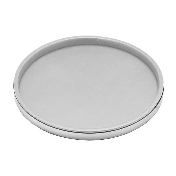 Sophisticates 14 in. Round Serving Tray in White and Brushed Chrome - Home Depot