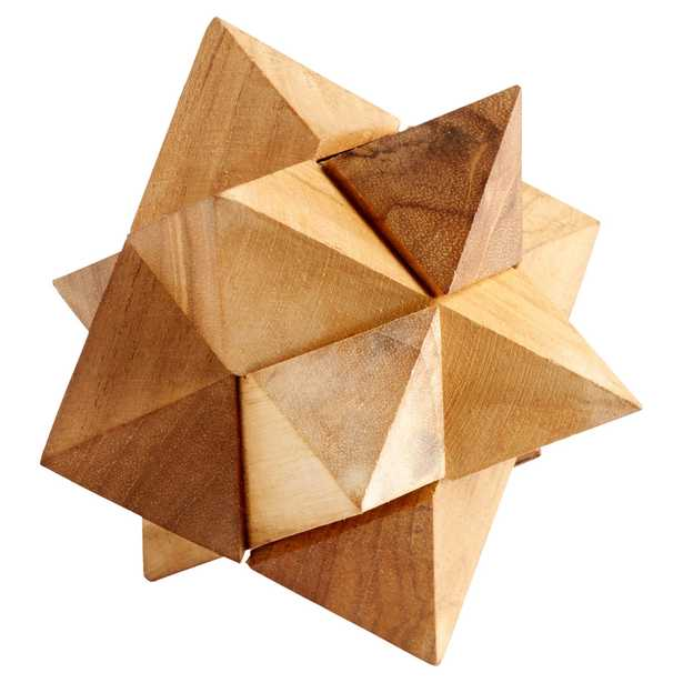 Watts Industrial Loft Natural Wood Decorative Puzzle Sculpture - Kathy Kuo Home