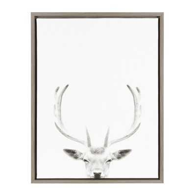 'Sylvie Deer with Antlers Black and White Portrait' Framed Photographic Print on Canvas - Wayfair