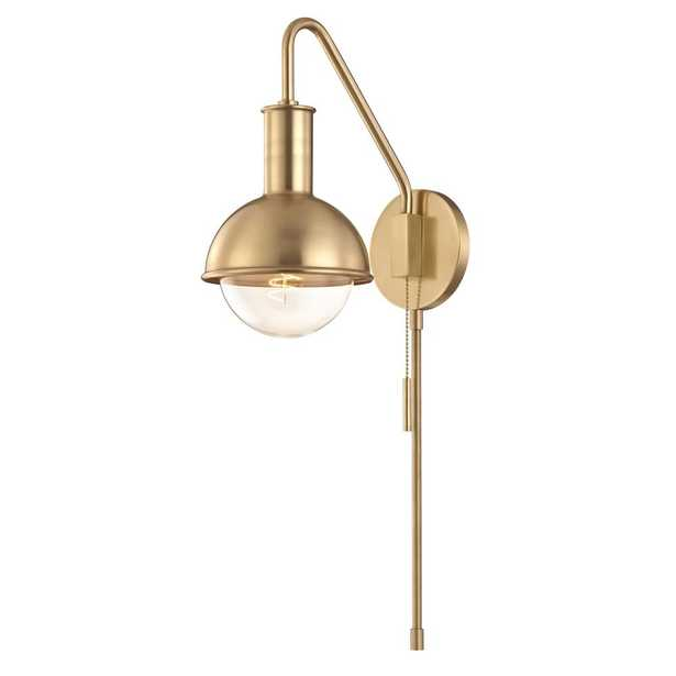 Mitzi by Hudson Valley Lighting Riley 1-Light Aged Brass Wall Sconce - Home Depot