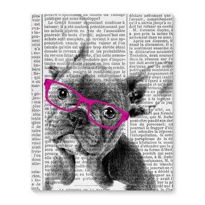 'French Bulldog with Pink Glasses' Framed Graphic Art Print on Canvas - Wayfair