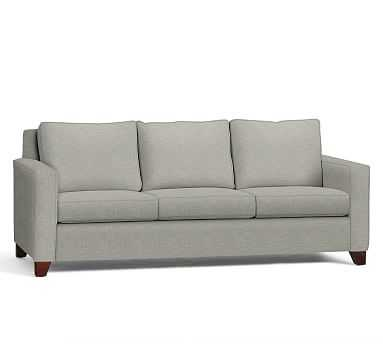 """Cameron Square Arm Upholstered Grand Sofa 96"""", Polyester Wrapped Cushions, Premium Performance Basketweave Light Gray - Pottery Barn"""