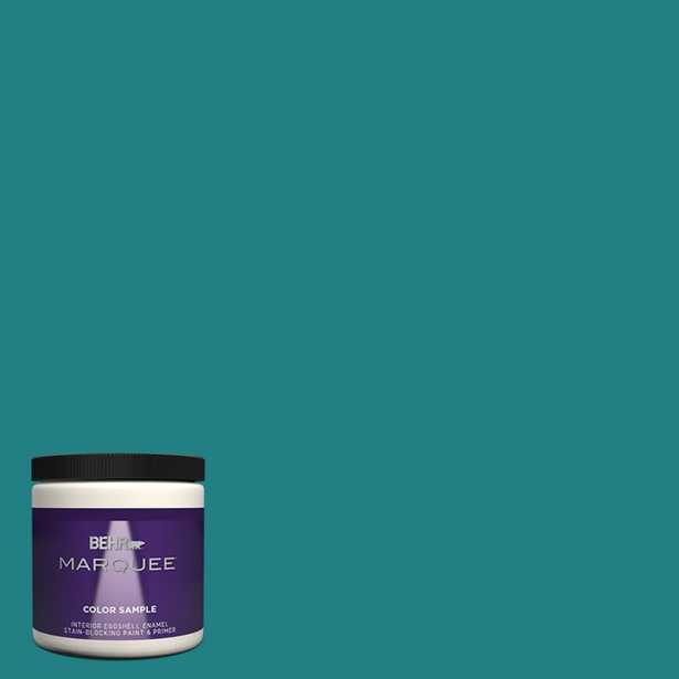 BEHR MARQUEE 8 oz. #510D-7 Pacific Sea Teal Eggshell Enamel Interior/Exterior Paint and Primer in One Sample - Home Depot