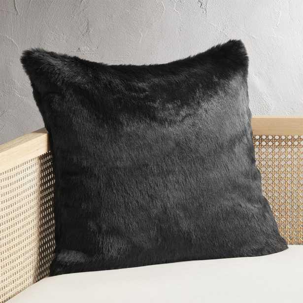 "20"" Black Faux Fur Pillow with Down-Alternative Insert - CB2"
