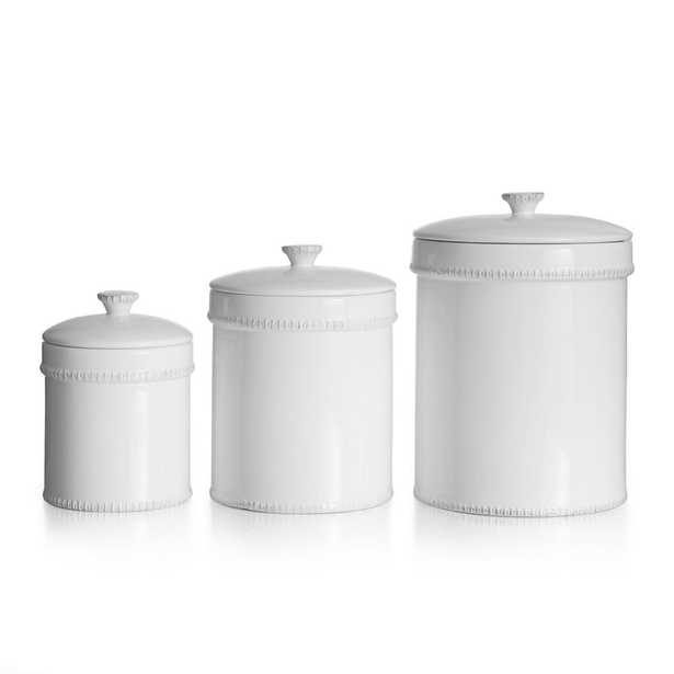 Bianca Dash 3-Piece White Ceramic Canister Set with Lid - Home Depot