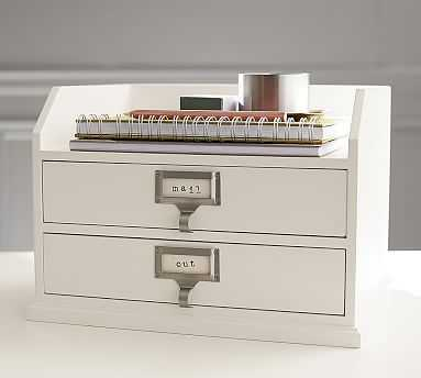 Bedford Two-Drawer Paper Organizer, Antique White - Pottery Barn