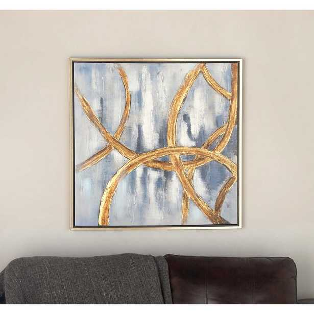 32 in. x 32 in. Abstract Linked Circles Framed Hand Painted Canvas Wall Art - Home Depot