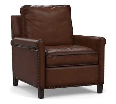 Tyler Roll Arm Leather Recliner with Bronze Nailheads, Down Blend Wrapped Cushions, Burnished Walnut - Pottery Barn