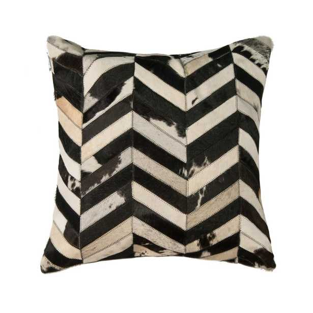 Lifestyle Group Torino Classic Chevron Black and White Cowhide Decorative Pillow, Multi - Home Depot
