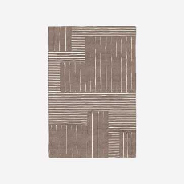MTO Painted Mixed Stripes Rug, Rosette, 4x6 - West Elm