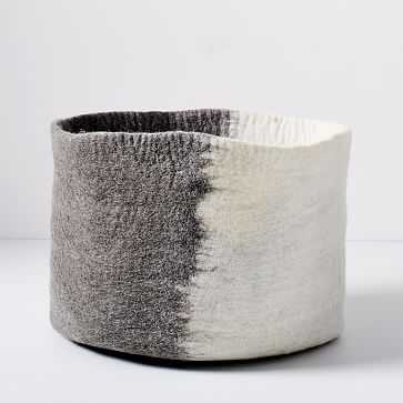 Felt Ombre Baskets, Ivory/Gray - West Elm