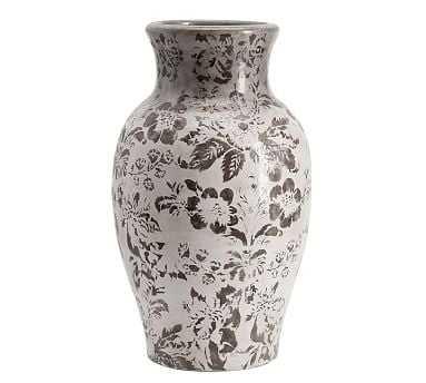 Collette Floral Vase, Gray, Large - Pottery Barn