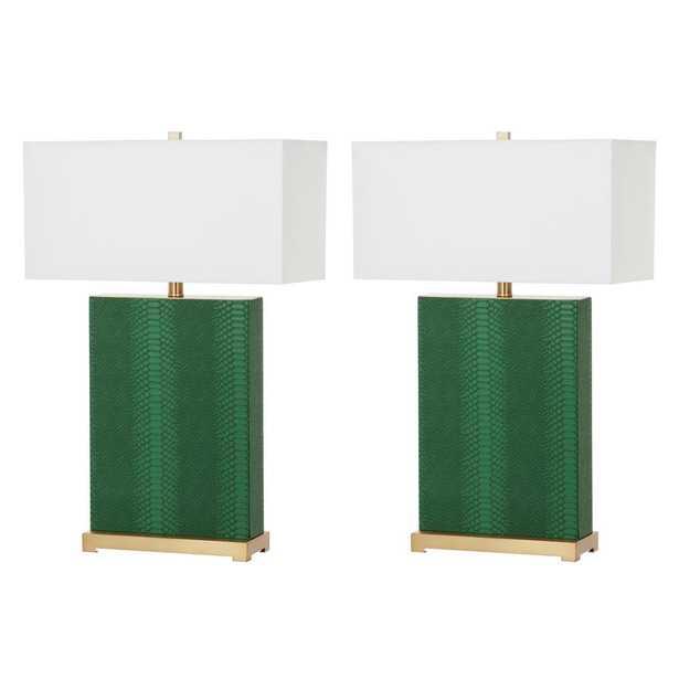 Safavieh Joyce 27.75 Jade Faux Snakeskin Table Lamp (Set of 2) - Home Depot
