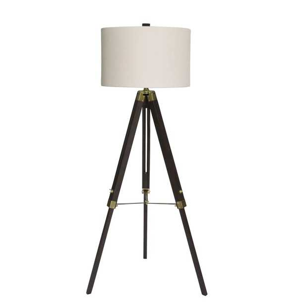 Fangio Lighting 60 in. Classic Structured Tripod Weathered Espresso Wood and Antique Brass Metal Floor Lamp - Home Depot