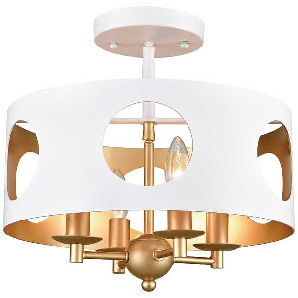 """Crystorama Odelle 14"""" Wide Matte White Drum Ceiling Light - Style # 73A03 - Lamps Plus"""