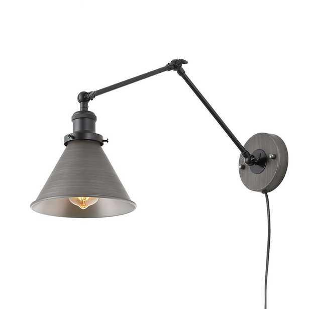 LNC 1-Light Dark Gray Wall Lamp Adjustable Plug-in Wall Sconce - Home Depot