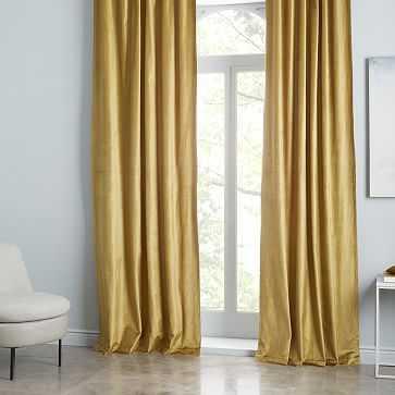 "Cotton Luster Velvet Curtain, Wasabi 48""x108"" -Individual - West Elm"
