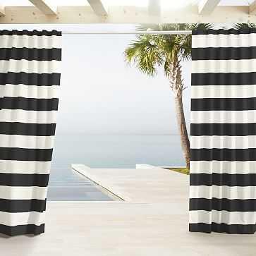 "Outdoor Stripe Curtain, Black, 48""x108"" - West Elm"