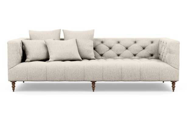 Ms. Chesterfield Sofa with Beige Wheat Fabric and Oiled Walnut legs - Interior Define