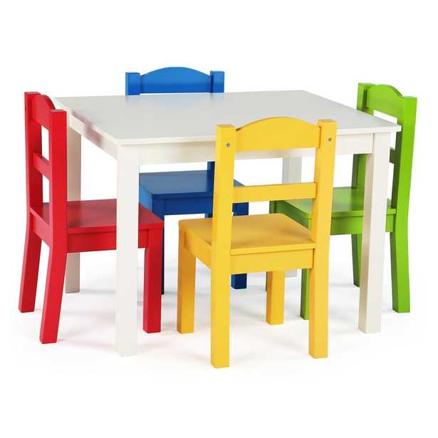 Summit 5-Piece White/Primary Kids Table and Chair Set - Home Depot