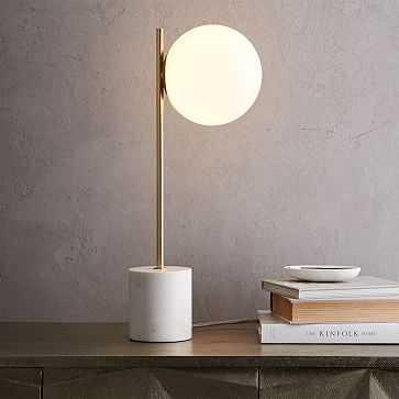Sphere + Stem Table Lamp, Brass/Milk Glass, 1-Light - West Elm