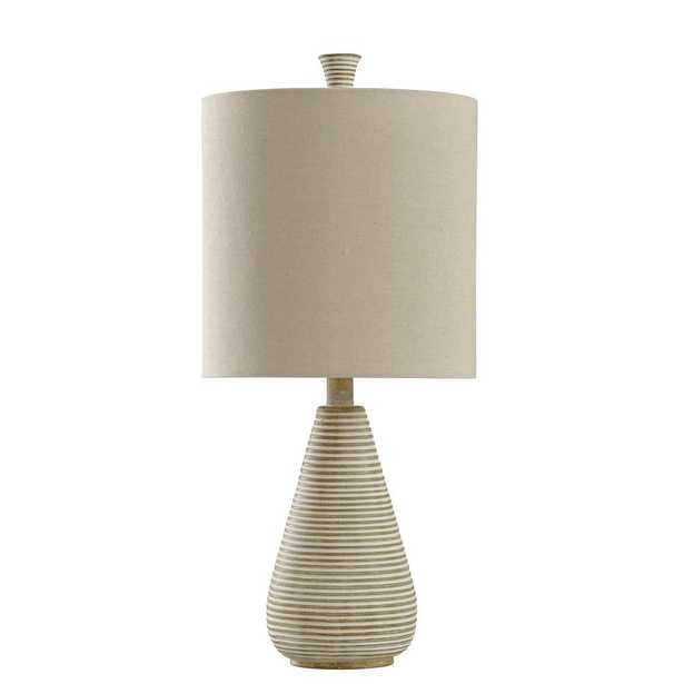 StyleCraft 24 in. Beige Table Lamp with Cream Hardback Fabric Shade - Home Depot