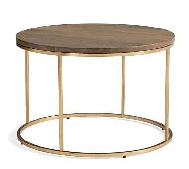 Delaney Round Coffee Table, French Gray - Pottery Barn