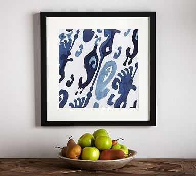 """Indigo Ikat Framed Print, Atlas, 22 x 22"""" - Pottery Barn"""