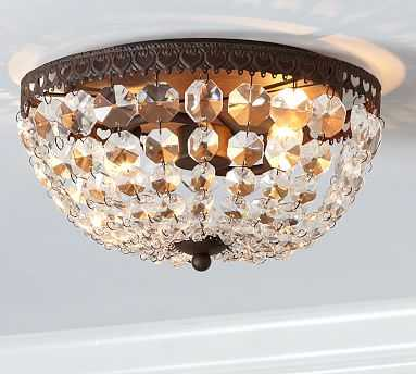 Mia Faceted-Crystal Flush-Mount Ceiling Fixture - Pottery Barn