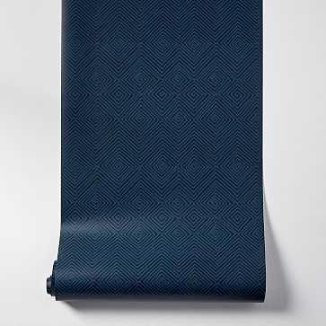 """Mid-Century Maze Wallpaper, Dark Blue, 20.5""""w x 33'h - West Elm"""