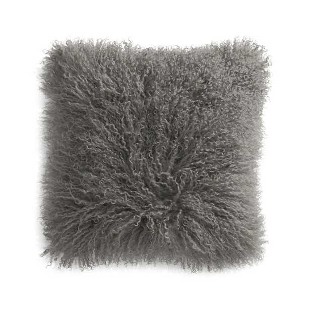 "Pelliccia Silver Grey Mongolian Sheepskin Pillow Cover 16"" - Crate and Barrel"